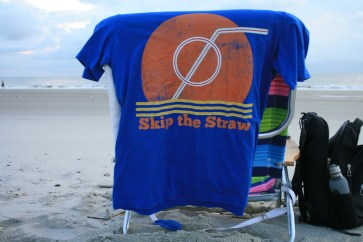 "a skip the straw t-shirt by the brand ""We Can Beat Plastic Pollution"" found on Amazon.com. When we skip the straw we are going plastic-free in a small way."