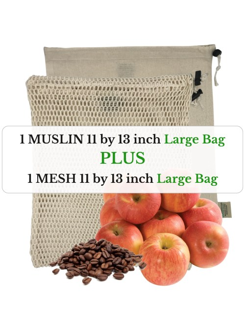 one mesh 11 by 13 inch and one muslin 11 by 13 inch large size organic cotton reusable produce bags with apples and whole bean coffee