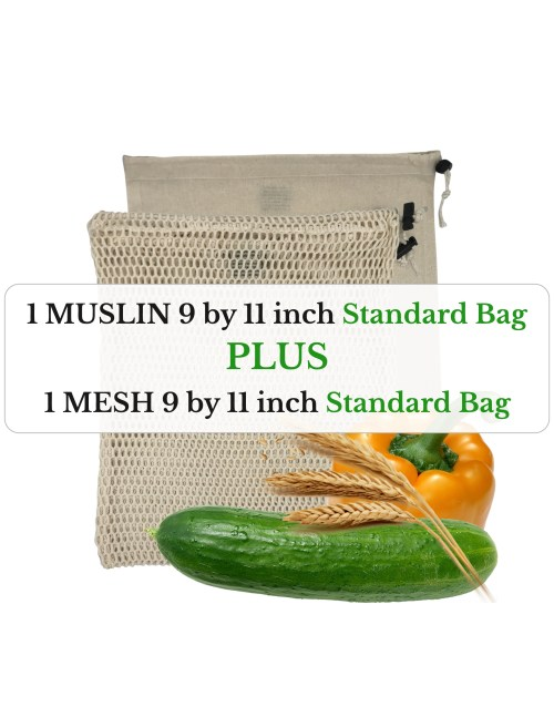 one mesh 9 by 11 inch and one muslin 9 by 11 inch standard size organic cotton reusable produce bags with a yellow bell pepper, cucumber and grains