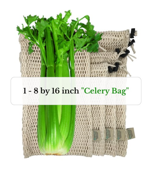 one 8 by 16 inch organic cotton mesh reusable produce bag for celery or fresh cut flowers