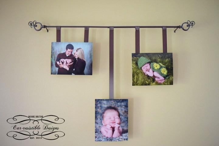 Thrifty Thursday-Curtain Rod Photo Display