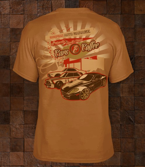 Custom illustration and t-shirt design for European Auto Garage's Cars & Coffee events.