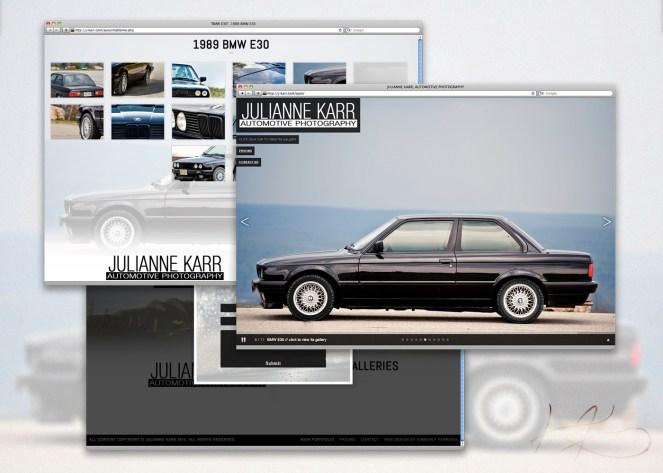 Photography portfolio for Julianne Karr's automotive photography business.
