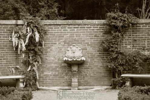 brick, stone, wisteria, fountain, garden,