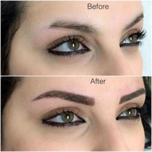 Eyebrow Microblading Before & After Wider Results Featured at Kimberly K Hair Studio