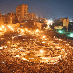 Anti-government protesters in Tahir Square during the Egyptian uprising Feb 2011