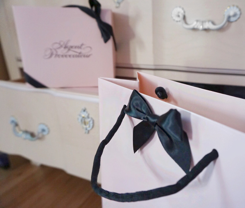 agent provocateur pink boxes black ribbon  lingerie haul