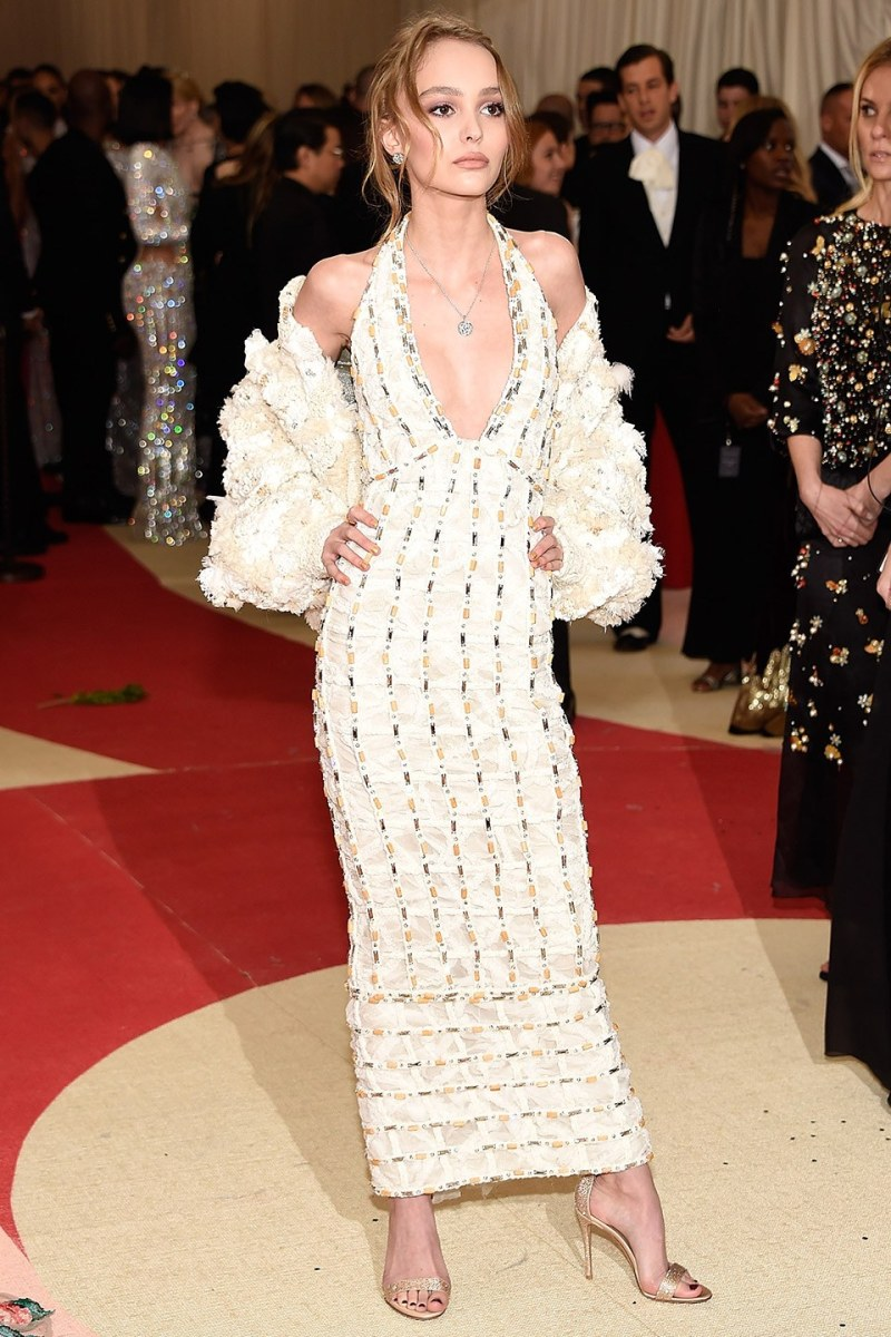 met gala 2016 lily-rose depp white chiffon dress woven bomber jacket chanel 1