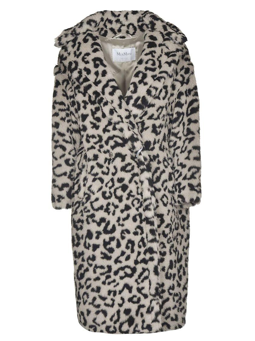 max mara edy leopard faux fur teddy coat