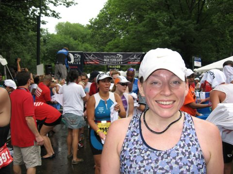 Dazed but happy at the finish (Photo credit: The Boyfriend)