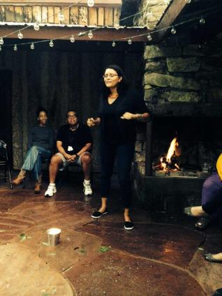 Miranda McCleod Telling Tales at the Bonfire