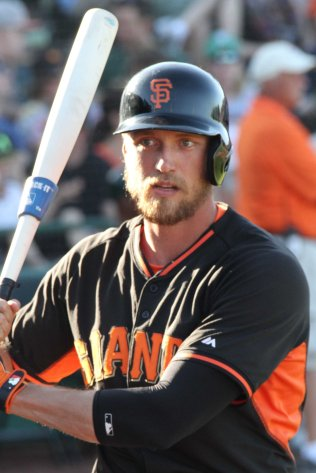 Hunter Pence warms up before hitting a home run -- the only run the Giants would score.