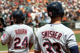 Nick Swisher and Michael Bourn in the batter's box at AT&T Park. April 26, 2014