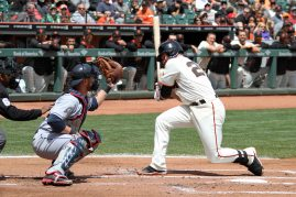 San Francisco Giants catcher Buster Posey reacts to a close pitch at AT&T Park. April 26, 2014