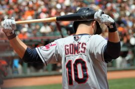 Cleveland Indians Catcher Yan Gomes waits for his turn to bat at AT&T Park. April 26, 2014.