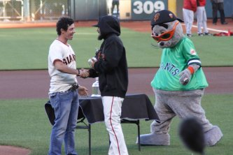 Rory McIlory prepares to throw out the first pitch at AT&T Park. It was Irish Heritage Night, and the US Open at the Olympic Club kicked off the following day. (June 2, 2012)