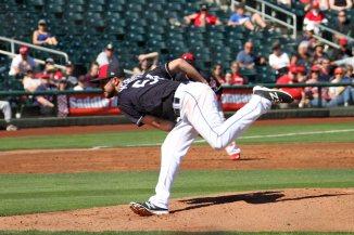 Cleveland Indians pitcher Ryan Merritt