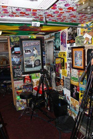 Posters on the wall inside Jam In The Van.