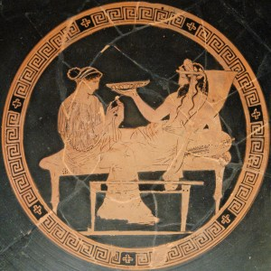 A tondo from a red-figure kylix depicting Persephone and Hades. Vulci, c. 440-430 BCE. (British Museum, London)