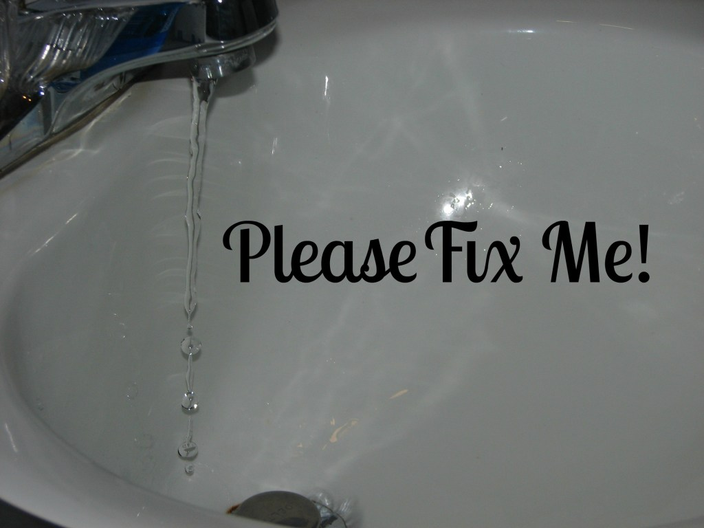 dripping faucet with text