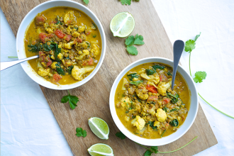 Curried Cauliflower, Coconut and Lentil Soup
