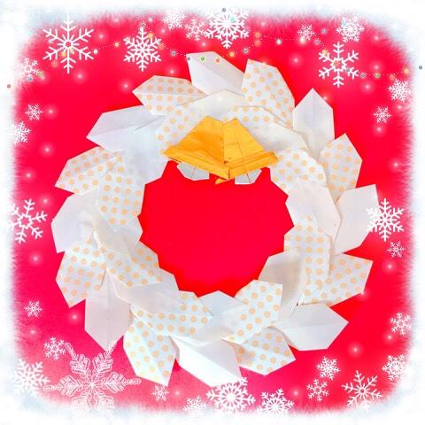 折り紙 クリスマスリースの折り方簡単なのにおしゃれで可愛いよ