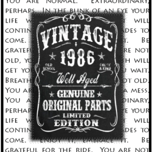 Birth year cards archives kim ink masculine birthday card with typed background quote fronted with chalkboard image with decorative words vintage year bookmarktalkfo Gallery