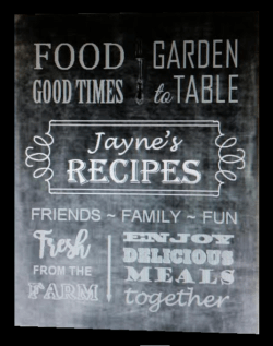 recipe book cover chalkboard look with words