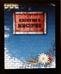 recipe book cover, rustic daisy and wire image on denim and brick background