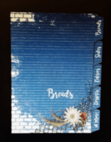 recipe book index pages, wire and daisy rustic design on blue denim and brick design
