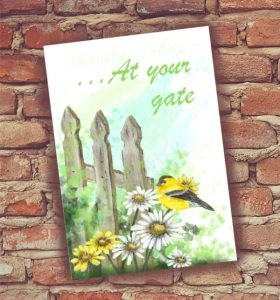 Oriole on daisies, old fence, original oil print card