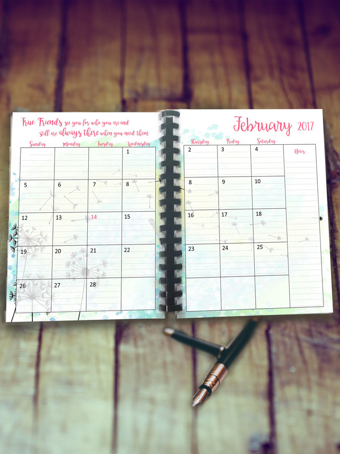 Planner Printable for February: Download and Print Our Free Dandelion Dreams Monthly Planner Page