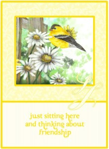 birthday card with daisies and goldfinch