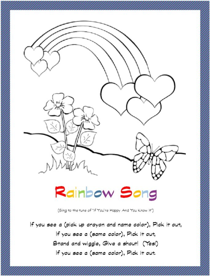 Rainbow, Hearts and Butterfly Coloring Page Free Printable Download