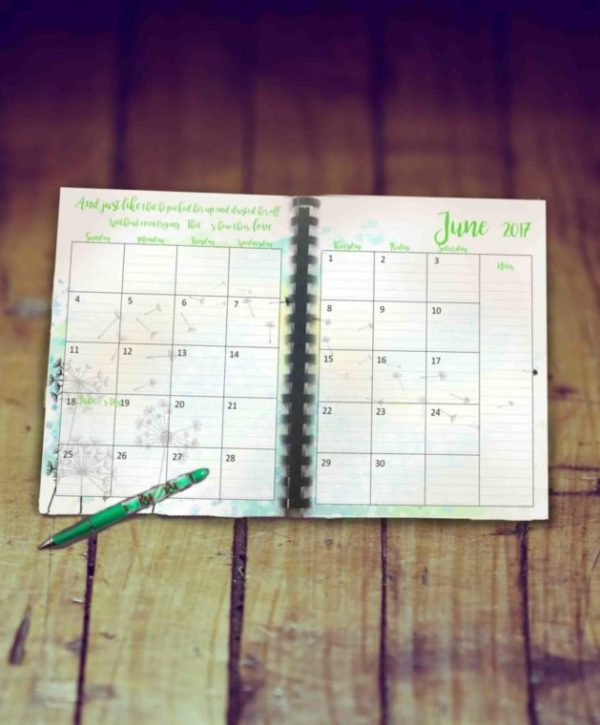 June planner pages printable