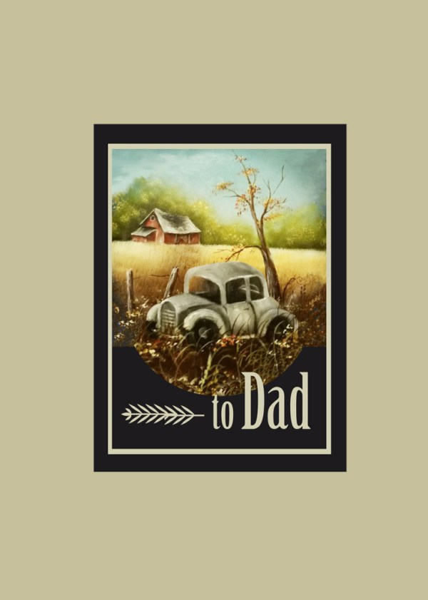 Vintage Car Original Oil Print Father's Day Card Front 2017