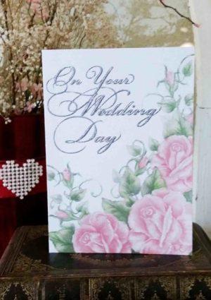 Wedding handmade card peach roses