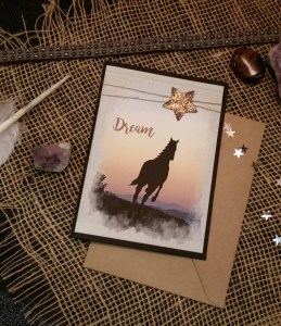 Horse and Sunset Dream card with envelope staged photo