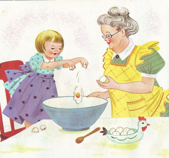 vintage picture girl baking with grandma