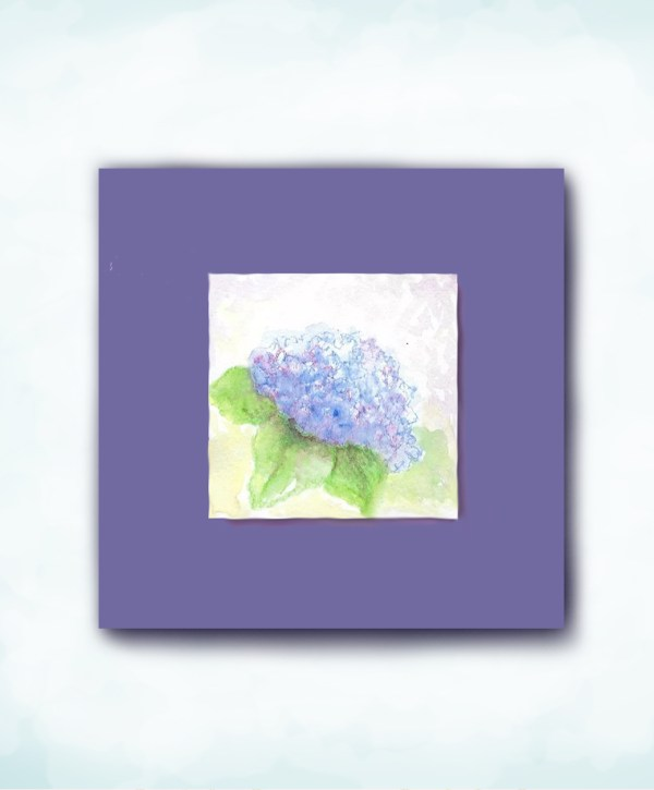 watercolor hydrangea mi-tientes paper mat square card