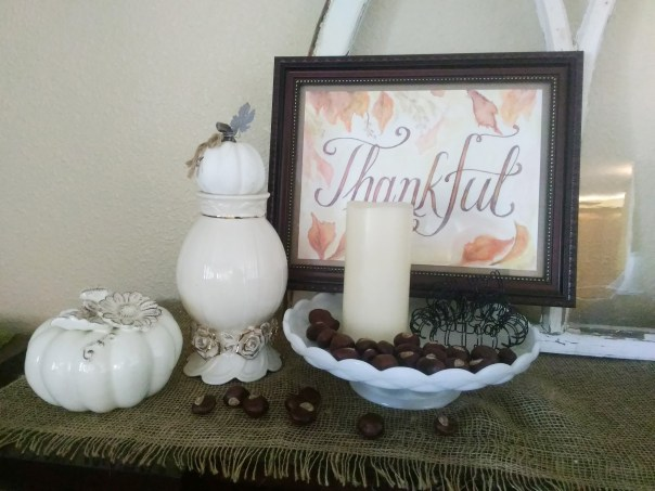 Thankful watercolor frame mantel photo
