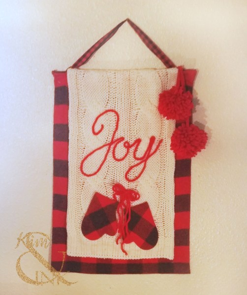 Cozy Christmas Buffalo Plaid and Mittens Wall Hanging
