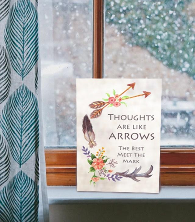 Thoughts are like Arrows card on the windowsill kimenink.com