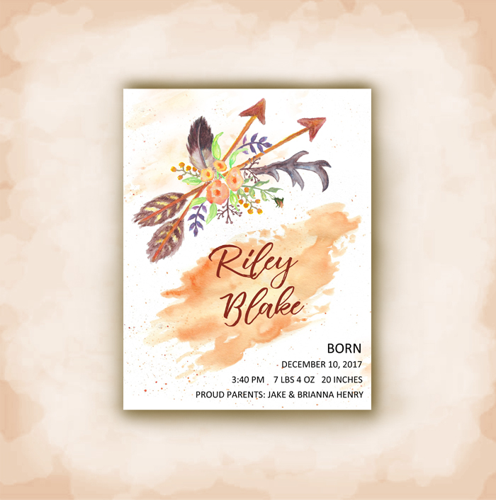 boho chic baby announcement cards - Baby Announcement Cards