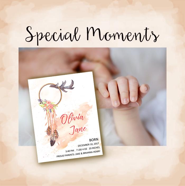special moments dreamcatcher birth announcement