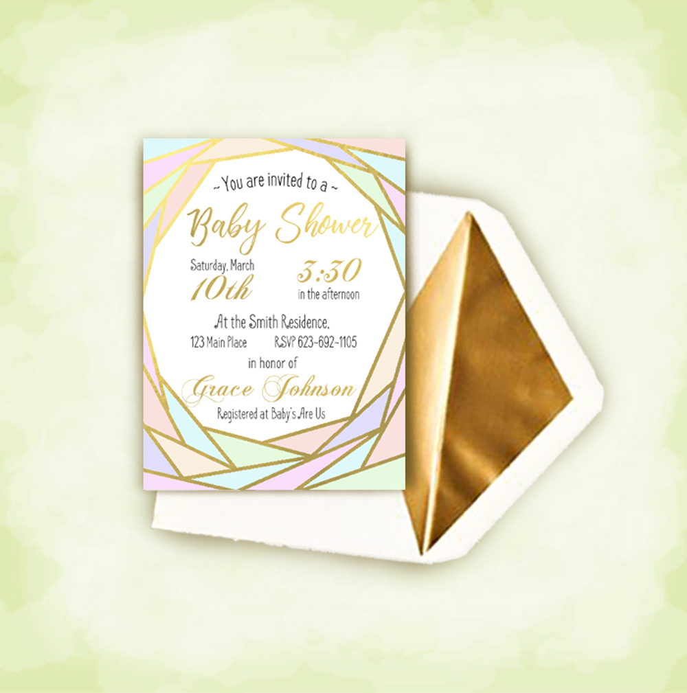 Geo gold baby shower invitation kim ink geometrics baby shower invitation card and envelope kimenink filmwisefo