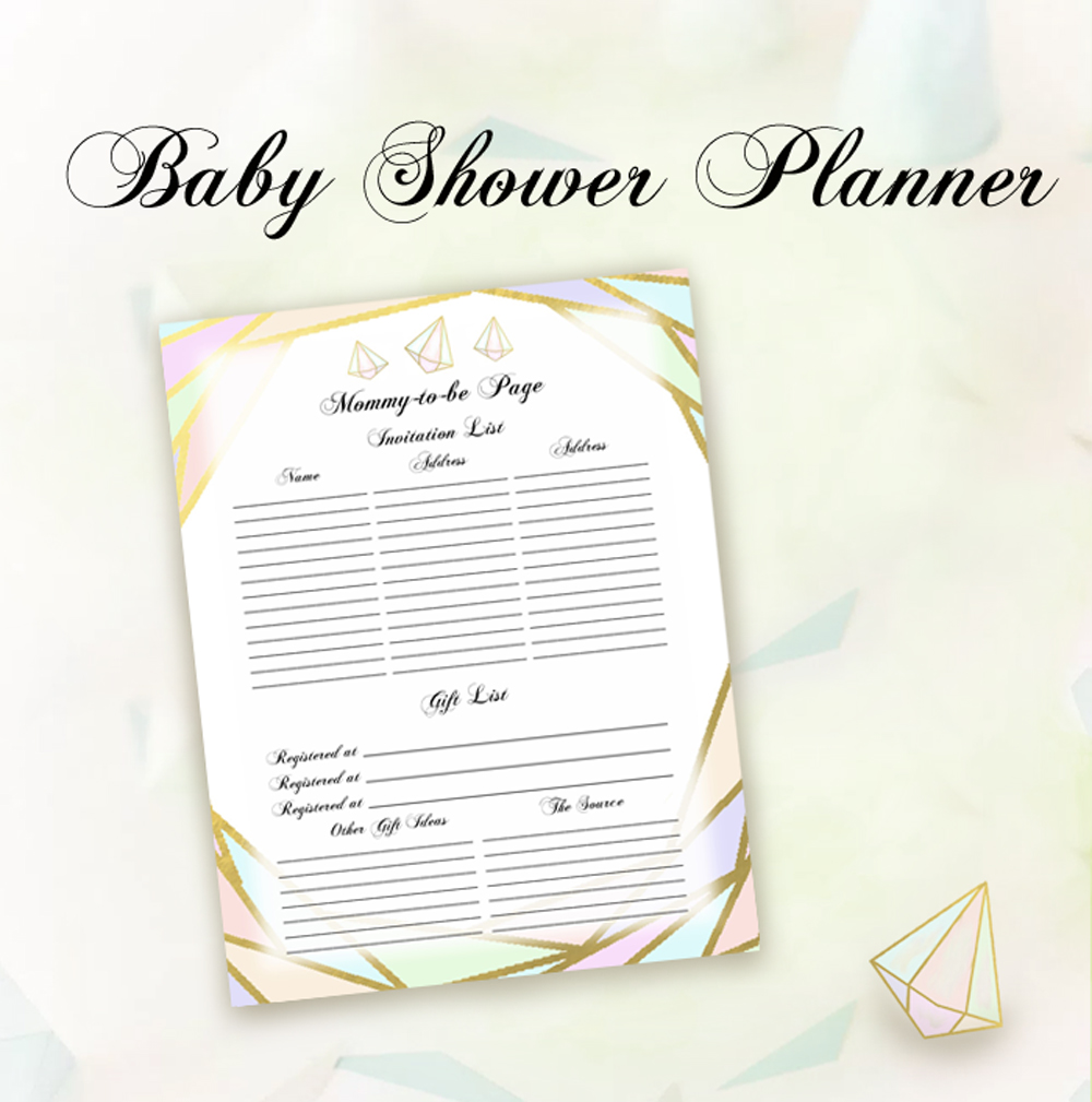 Geometrics Baby Shower Planner Mommy To Be Page