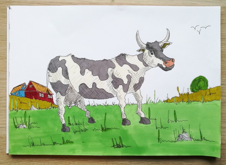 A cow just being a cow
