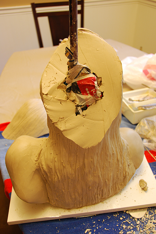 Hollowing a portrait bust by Kim Marchesseault