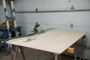Plywood cutting set-up